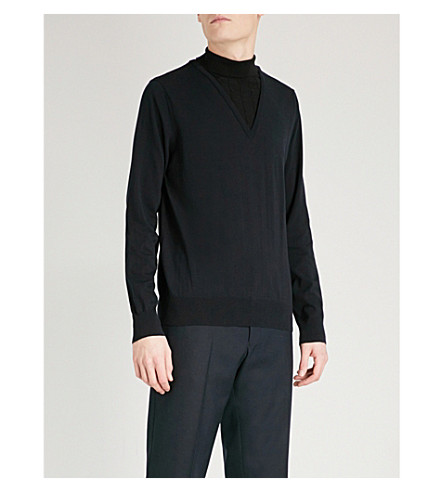 DRIES VAN NOTEN Jesse turtleneck cotton and wool-blend jumper (Navy