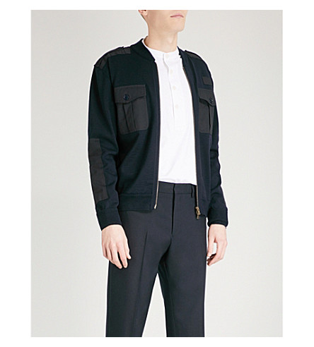 DRIES VAN NOTEN Journey merino wool cardigan (Navy