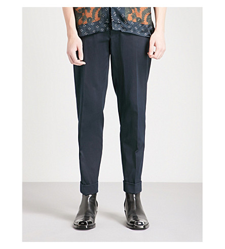 DRIES VAN NOTEN Regular-fit tapered cotton and linen-blend trousers (Navy