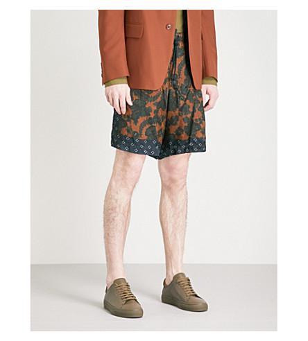 DRIES VAN NOTEN Piper floral-patterned satin shorts (Brown