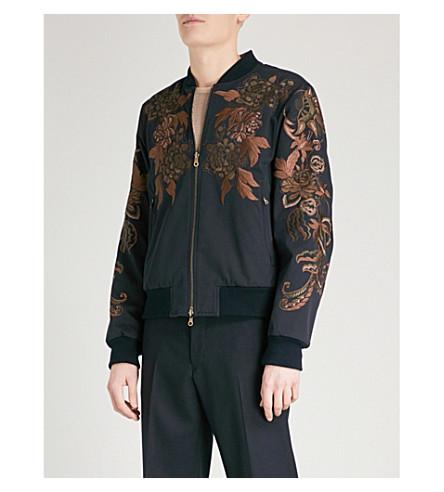 DRIES VAN NOTEN Vinny reversible satin bomber jacket (Navy