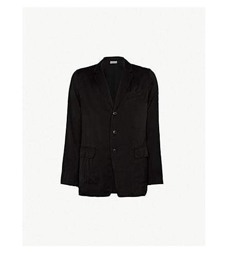 DRIES VAN NOTEN Single-breasted satin jacket (Black