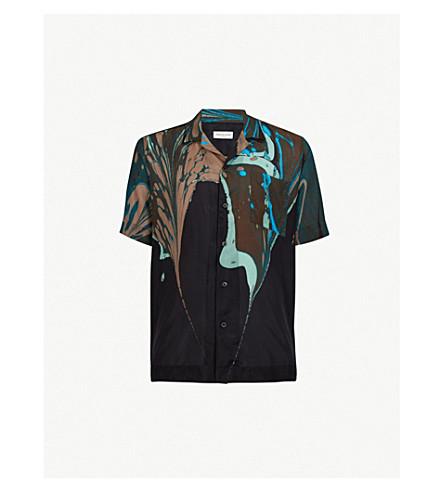 DRIES VAN NOTEN Marble-print regular-fit silk shirt (Black