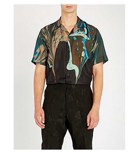 DRIES VAN NOTEN Marble-print regular-fit silk shirt (Black
