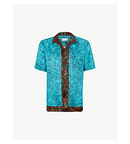 DRIES VAN NOTEN Marble-print satin shirt (Desf985