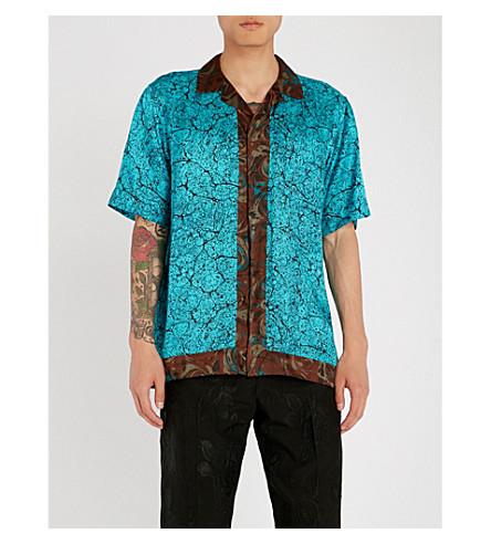 DRIES VAN NOTEN Marble-print satin shirt (Desf985