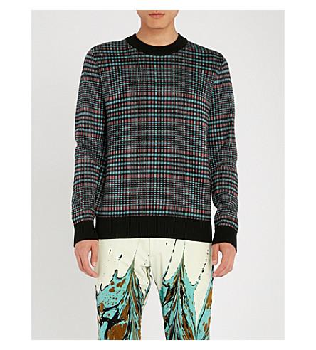DRIES VAN NOTEN Checked wool-blend jumper (Black