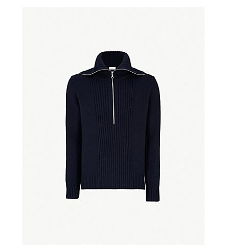DRIES VAN NOTEN Funnel-neck wool jumper (Navy