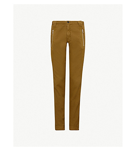 DRIES VAN NOTEN Relaxed-fit straight cotton and linen-blend trousers (Khaki