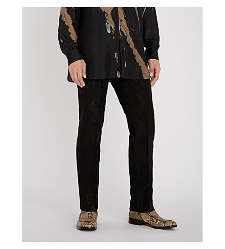 Black DRIES trousers VAN straight NOTEN embroidered woven Floral DRIES VAN 1nzRqHZw