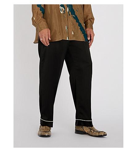 Pantalón DRIES de recto con NOTEN contraste ribete VAN Negro en satén grwprEq