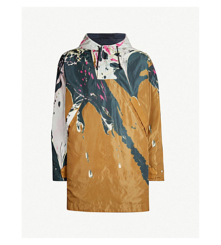 DRIES VAN NOTEN Marbled-print reversible shell coat (Khaki
