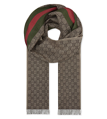 GUCCI Wool-silk blend scarf (Beige+brown