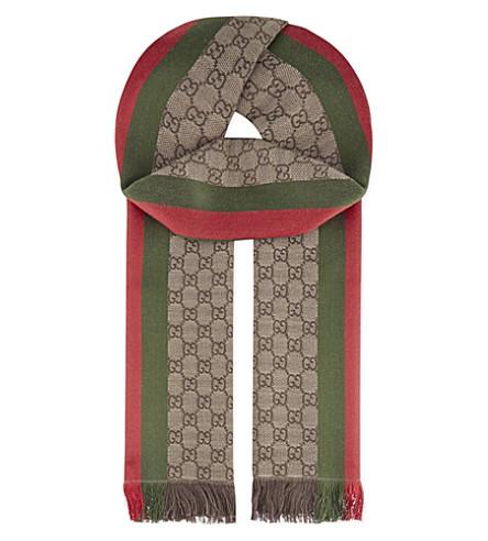 GUCCI Wool-silk blend scarf (Tan+/+green+/+red