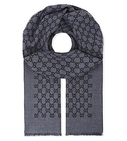 GUCCI 标志羊毛围巾 (黑色 + 灰色