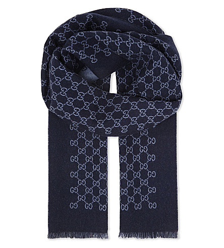 GUCCI Logo wool scarf (Blue+light+blue