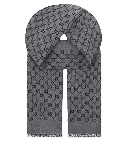 GUCCI Logo wool scarf (Grey+/+black
