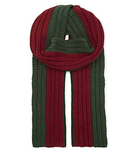 GUCCI Deesa striped wool and silk scarf (Green+/+red