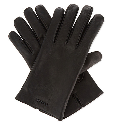 GUCCI Logo nappa leather gloves (Black