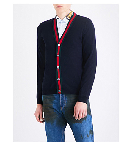 GUCCI Striped wool cardigan (Navy