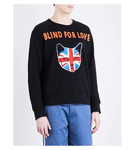 GUCCI Blind for Love cotton-jersey sweatshirt (Black orange red blu