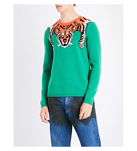 GUCCI Tiger jacquard-knitted wool sweater (Green