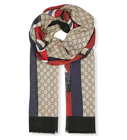 GUCCI GG serpent wool scarf (Beige+red