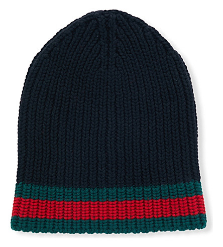 GUCCI Striped wool beanie (Black