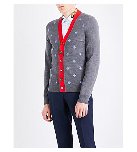 GUCCI Bee embroidered wool cardigan (Grey+pale+blue