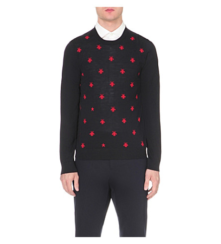 GUCCI Bee-embroidered wool jumper (Navy+red