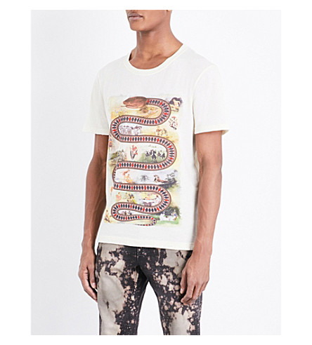 GUCCI Snakes and ladders-print cotton-jersey T-shirt (Sunkissed printed