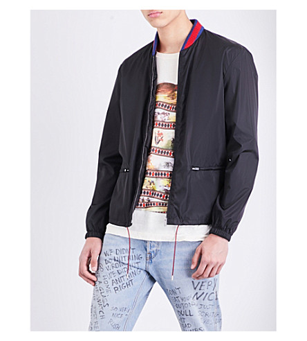 GUCCI Snake-print shell bomber jacket (Black printed