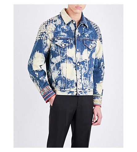 GUCCI Bleached denim jacket (Blue ivory multicol