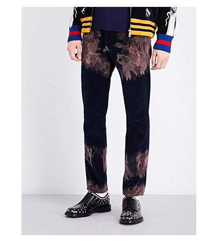 GUCCI Bleached cotton corduroy trousers (Navy+brown