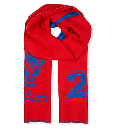GUCCI Tiger jacquard wool scarf (Red+navy