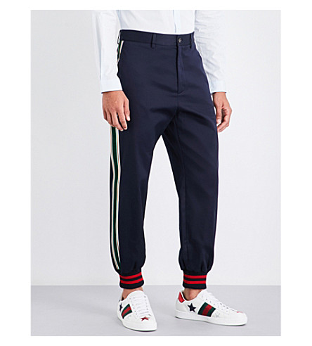 GUCCI Velvet-striped tapered cotton-twill trousers (Navy