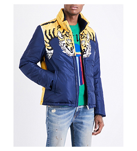 GUCCI Tiger-print shell jacket (Navy