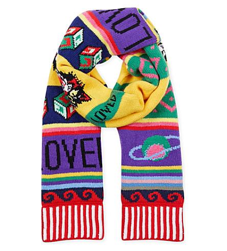 GUCCI Striped symbols wool scarf (Multi
