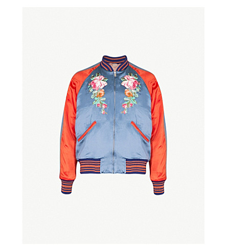 GUCCI Floral and Koi carp-embroidered satin bomber jacket (Navy+orange