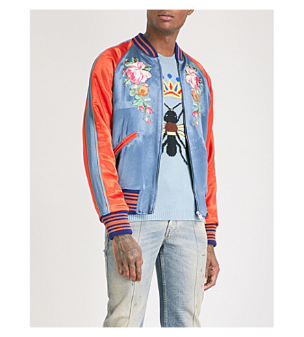 GUCCI Floral and Koi carp-embroidered satin bomber jacket (Navy+orange