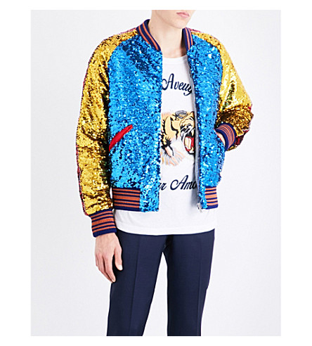 GUCCI Striped-trim sequinned bomber jacket (Electric+blue+yellow