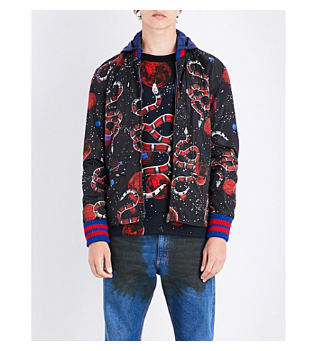 GUCCI Space snake-print hooded shell jacket (Black