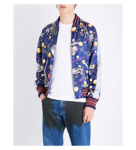 GUCCI Space animal-print satin bomber jacket (Blue