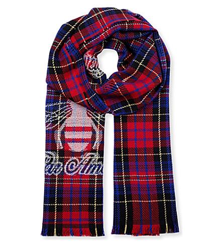 GUCCI Tartan wool scarf (Red+blue