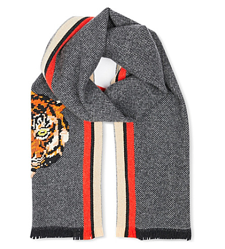 GUCCI Tiger-needlepoint scarf (Brown+red+green