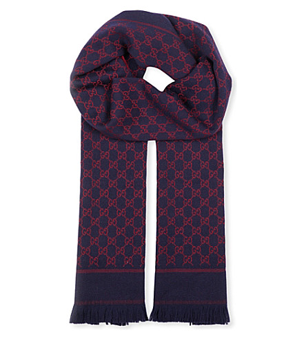 GUCCI GG jacquard wool scarf (Navy+red