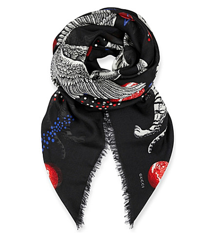 GUCCI Space Animals wool and silk-blend scarf (Black