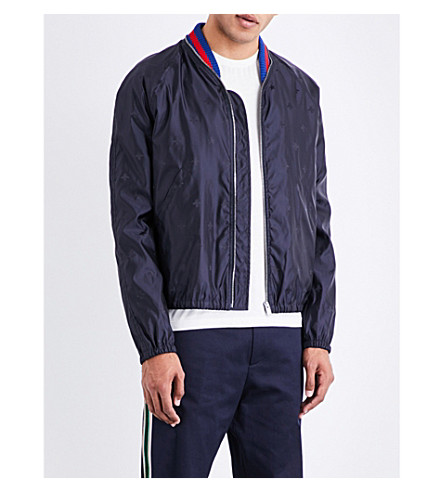 GUCCI Bee-patterned shell bomber jacket (Navy