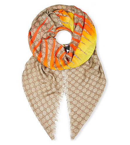 GUCCI GG Angry Cat scarf (Beige+orange