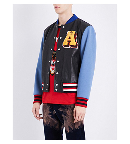 GUCCI Patch-appliquéd leather and wool bomber jacket (Black+pale+blue